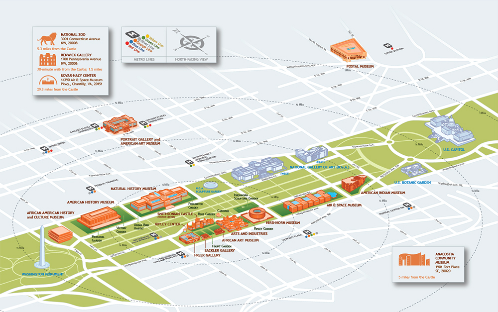 Map of Smithsonian Museums on or near the National Mall